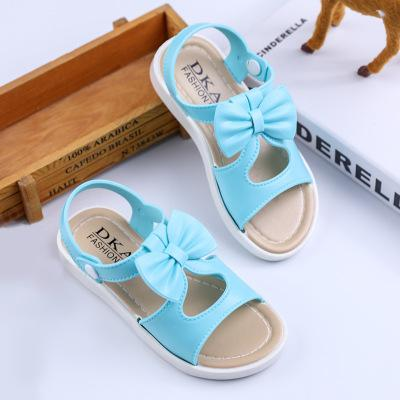 Summer Girls Sandals For kids New Shoes Soft Leather Fashion Flat Blue Princess Sandals Children Student Beach Outdoor Sandals