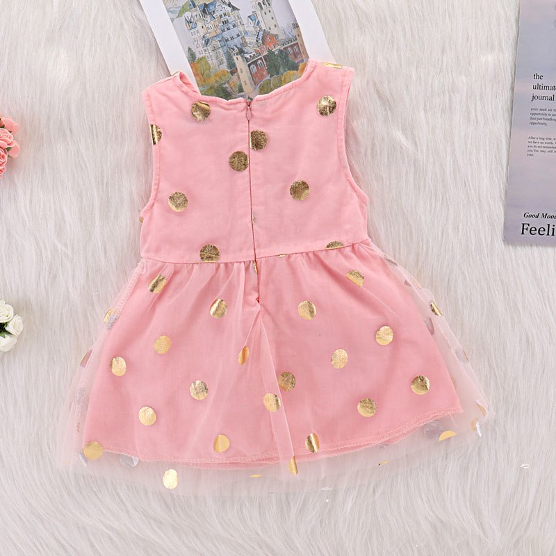 Summer Little Girl Dress Sleeveless Polka Dots Tulle Sundress Casual Party Dresses @ AN88 - thefashionique