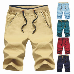 Summer Men Boardshorts Fit Casual Sweatpants Straight Male Beach Shorts Pockets Elastic Waist Slim Fit Mans Cargo Shorts Cotton