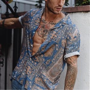 Summer Mens Vintage Hawaiian shirt Comfort Short Sleeve Loose Shirts Blouse Men Beach Tops streetwear Clothes camisa masculina