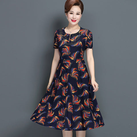 7c44a6b0811 Summer Middle-aged Women Dress 2019 Plus Size Women Vintage Bohemian Floral Print  Dress Diamonds