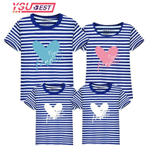 21e2494b8539 Summer Mother Daughter Matching Clothes Stripe Love Letter Clothes Family  100% Cotton Family Matching Outfits. Add to wishlist