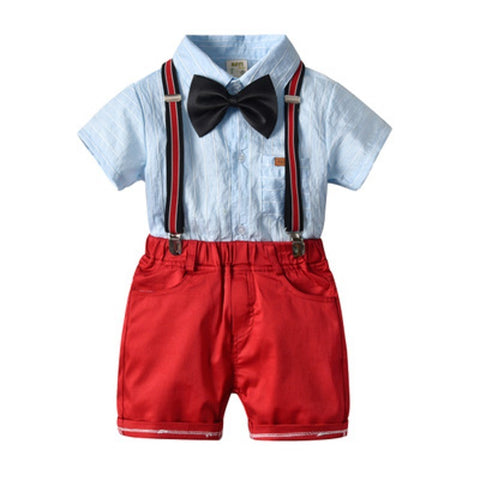 Summer New Drop Ship Little Gentleman Formal Costume Strip Shirt Suspender Pants Baby Boys Outfit Children Clothes - thefashionique