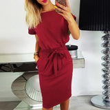 Summer New Fashion Women's 2018 Knee Length Sexy Bodycon Sheath Dress Casual O neck Short Sleeve Tunic Dresses Elegant Vestidos - thefashionique