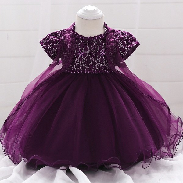 Summer New Girl 0-1 year Embroidery baby flower Dress Children's pearl Princess party Dress Embroidered Tulle 1st Birthday Dress - thefashionique