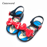Summer New Mini Sed Kids Sandals Children Jelly Shoes for Girls Princess Shoes Bow Cartoon Printing Baby Toddler Girls Sandals