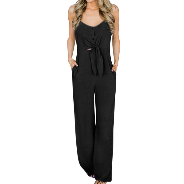 Summer Overalls For Women Fashion Bowknot V-Neck Sleeveless Elegant Long Jumpsuits Trousers Ladies Casual Backless Rompers #YL5 - thefashionique
