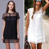 Summer Sexy Women Tunic Casual Sleeveless Beach Short Dress vestidos ladies girls Tassel Solid White Mini Lace Dress Plus Size - thefashionique