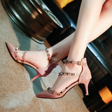 Summer Style Pumps Rivets Ankle Strap women Party Shoes Woman Sexy High Heels Pointed Toe pink Wedding Shoes for girls a061 - thefashionique