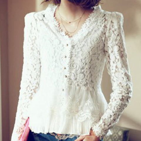 Summer Style Women Long Sleeve  Tops Solid Color Hollow Out Blouse Shirt  V Neck Casual White Lace Shirt