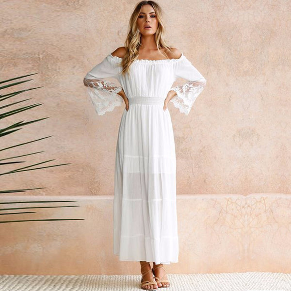 Summer Sundress Long Women White Beach Dress Strapless Long Sleeve Loose Sexy Off Shoulder Lace Boho Cotton Maxi Dress - thefashionique