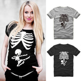 Summer Top Tees Women T-Shirts Funny Pregnant Mom Kicking Baby Skull Skeleton Mother Maternity T-shirt Sexy  Short Sleeve Tops - thefashionique