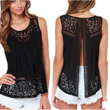 Summer Women Tops Lace Sleeveless Backless black Crochet Casual Tanks Camis Tops hot Plus Size S - XXXXL - thefashionique