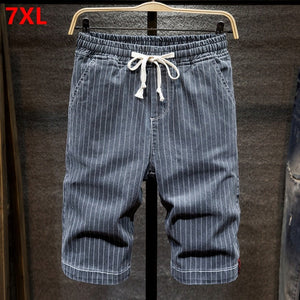 Summer denim shorts men's cotton stretch large size thin shorts striped loose straight beach knee length shorts