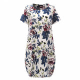Summer dress 2018 New Short Sleeve Loose Dress Women Vintage Midi Sexy Dress Summr Floral Print Dress Vestidos Plus Size - thefashionique