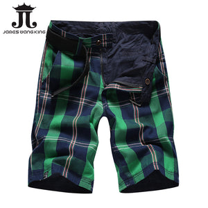 Summer plaid Casual shorts men Double-sided wear Cargo Shorts fashion striped plaid solid straight shorts 2018 new arrival - thefashionique