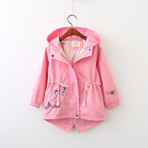 Sunshine & Rainy Flower Embroidered Jackets For Girls Hooded Baby Girl Windbreaker Girls Jacket And Coat Spring Kids Outerwear - thefashionique