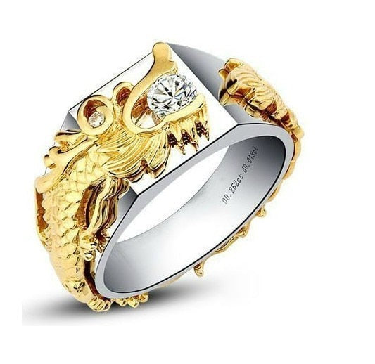 Super Luxury China Dragon Men Ring 0.33Ct Diamond Ring Solid 925 Sterling Silver Covered with Yellow & White Gold Man Ring - thefashionique