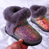 Super perfect design Shining sequin Girls Boots Winter Shoes For Girls Pink Boots Children Snow Boots Rubber boots for baby girl - thefashionique