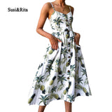 Susi&Rita Floral Summer Beach Dress Women 2018 Vintage Spaghetti Strap Party Dress Sexy Bohemian Dresses Vestidos Robe Femme - thefashionique