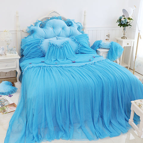 Svetanya princess Lace Bedding Set Fleece warm Bedlinen Twin Full Queen King size Quilt cover+Bedskirt+pillowcase