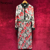 Svoryxiu Runway Autumn Vintage Pleated Midi Dress Women's Elegant Long Sleeve Floral Print Diamonds luxury Party Dresses Female - thefashionique