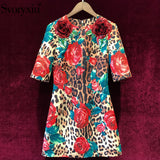 Svoryxiu Runway Custom Vintage Party Jacquard Dress Women's Half Sleeve Appliques Red Rose Leopard Printed Summer Mini Dresses - thefashionique