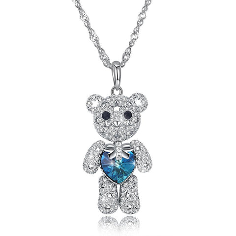 Swarovski element cute bear full drill two-color S925 sterling silver necklace SVN277 - thefashionique