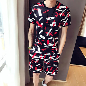 Sweat Suit Men's Sportswear Nightclub Social Sets Men Clothes 2020 Brand Fashion Print Casual Suits Men 2Pcs Tshirt Sweatpants