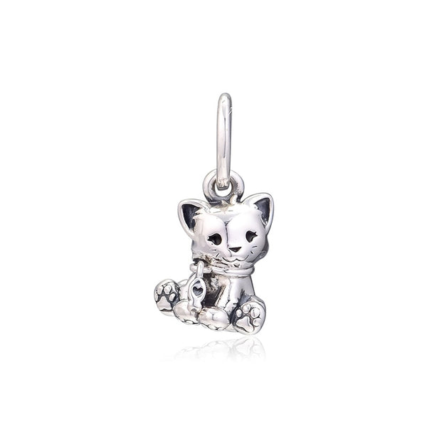 Sweet Cat Dangle Silver Charms for Women Bracelets 2019 Silver 925 Jewelry DIY Family Pet Beads Silver Charms for Jewelry Making - thefashionique