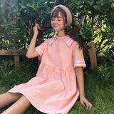 Sweet Summer New Harajuku Women Dresses College Wind Sailor Collar cute Student Dress Short Sleeve Thin Female Doll Dresses - thefashionique