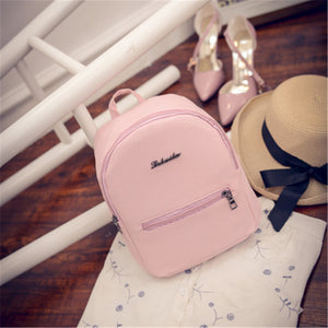 Sweet Women Mini Backpack College Wind Shoulder Bag PU Leather Fashion Girl Candy Small Backpacks Female Bag Back Pack sac a dos - thefashionique