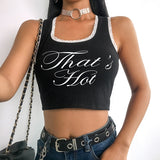 Sweetown 2019 Spring Summer Black Sexy Tank Top Back Criss Cross Bandage Bralette Crop Top Camisole Front Letter Graphic Tees - thefashionique