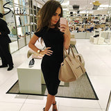 Sytiz 2017 Long Sleeve Robe Bodycon Dress Sexy Autumn Knee-Length Bandage Midi Black Army Green Pencil Dress - thefashionique