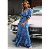 TEELYNN maxi Dresses for women rayon blue Floral print sexy deep v-ncek boho summer dresses loose Hippie long dress Vestidos - thefashionique