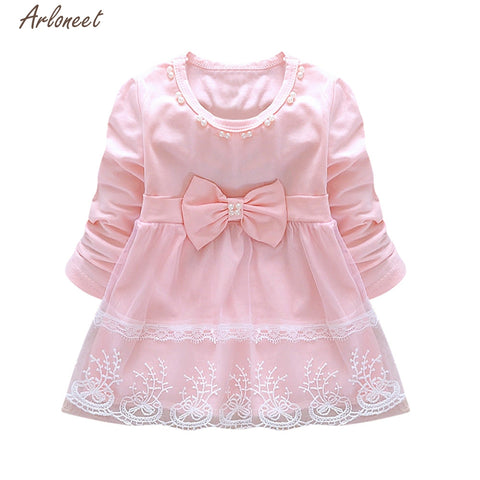 TELOTUNY Baby Dress Toddler Baby Girls Bowknot Lace Long Sleeve Princess Elegant Tutu Dress Clothes     Y120430