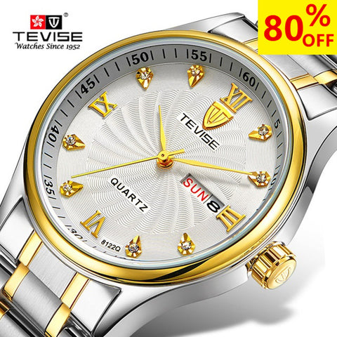 TEVISE Luxury Week Day Date Watch Men 2018 Waterproof Fashion Quartz Stainless Steel Wrist Watches for Men relogio masculino