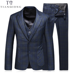 TIAN QIONG Men Suit(Jackets+Pants+Vest)2018 Fashion Man Suit Slim Blue Plaid Two Button Weeding Groom Suits Costume Homme Tuxedo - thefashionique