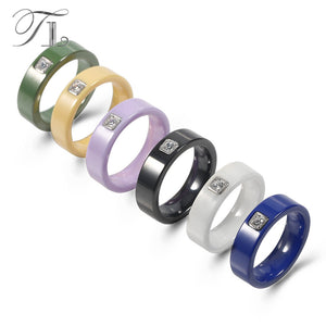 TL 6 Colors Simple Design Ceramic Men's Rings Silver Base Setting Cubic Zircon Ceramic Rings Exquisite Wedding Rings For Women - thefashionique