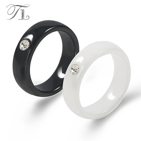 TL Fashion Ceramic Engagement Ring Simple Design Solid Black&White Ceramic Ring Decorate with Zircon Eye Love Ring For Women Men - thefashionique