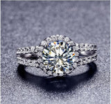 TR009 Hot Sale White Gold Color 2 carat 8mm/1carat 6.5MM SONA simulated Gem Engagement rings,ring for women Free Shipping - thefashionique