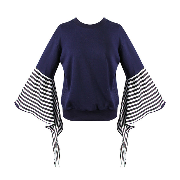 TWOTWINSTYLE Striped Pullover Female Patchwork Flare Sleeve Round Neck Large Size Blue Tops Spring Casual Fashion Clothes Korean - thefashionique