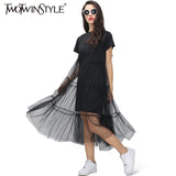 TWOTWINSTYLE Summer Korean Splicing Pleated Tulle T shirt Dress Women Big Size Black Gray Color Clothes New Fashion 2017 - thefashionique