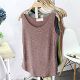 TWTZQ  Spring Summer New Sexy Tank Top Women Sleeveless Multicolor Round Neck Bralette Loose T Shirt Ladies Vest Singlets 3BX005 - thefashionique