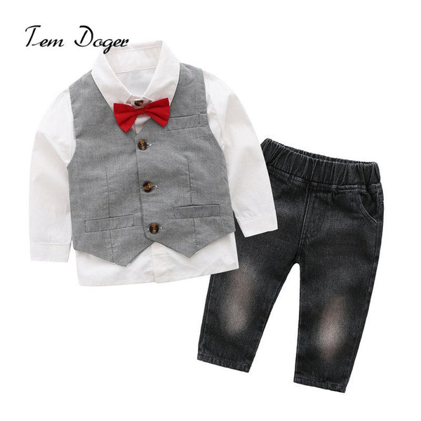 Tem Doger Little Boys Summer Outfits Stripe Short Sleeve Shirts + White Shorts 2 Piece Gentleman Clothes Suit - thefashionique