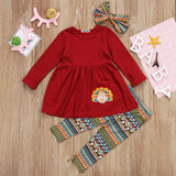 Thanksgiving Turkey Kids Baby Girl Outfit Clothes T-shirt Top Dress+Pants Set 2018  Thanksgiving Newborn Kids girls clothing set - thefashionique