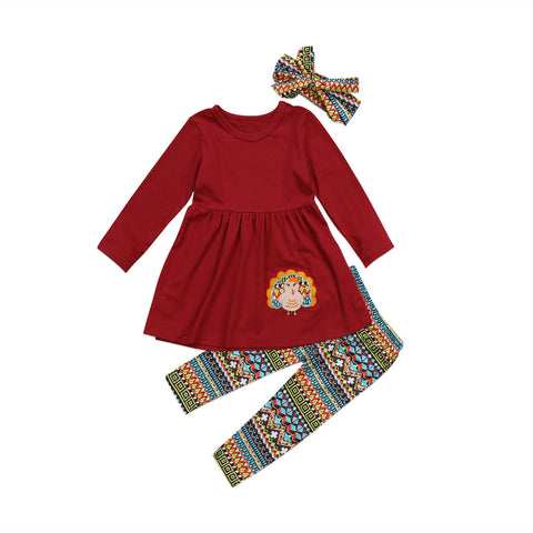 b409531a4ab Thanksgiving Turkey Kids Baby Girl Outfit Clothes T-shirt Top Dress+Pants Set  2018