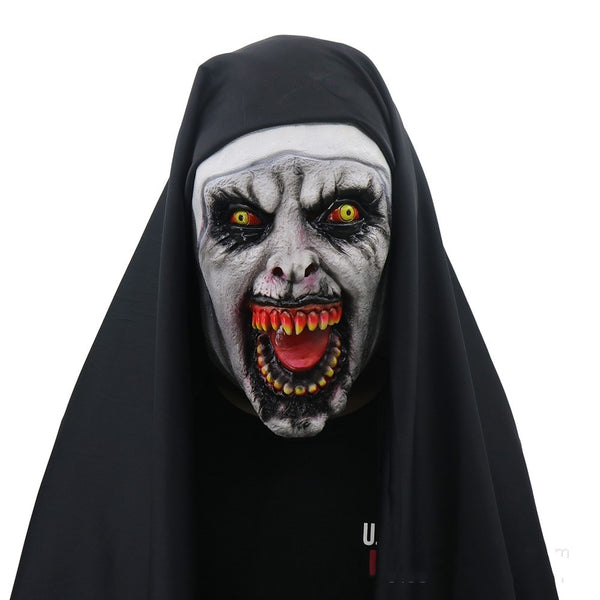 The Nun Adult Latex Mask Cosplay Costumes Horrible Halloween Full Face Masks Hood Party Event Decoration Props