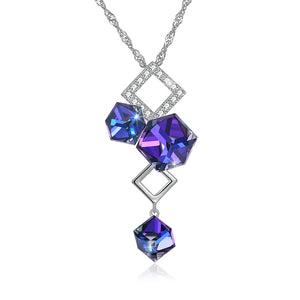 Three Blue crystal square pendant element Crystal Necklace 925 Sterling Silver geometric Pendant fine long Necklace for women - thefashionique