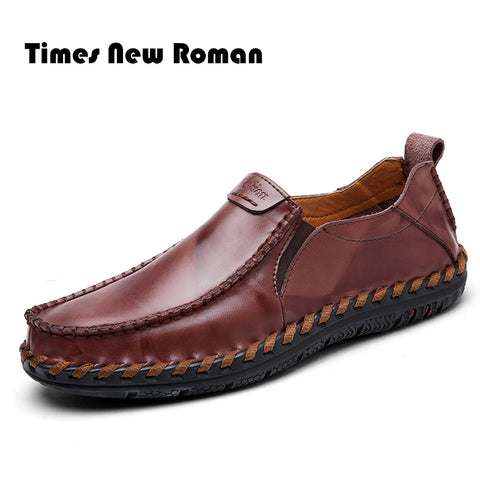 Times New Roman Brand men casual shoes Genuine Leather shoes men chaussure homme de marque Loafers moccasins - thefashionique